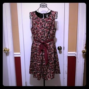 Maroon Beige Black Print Dress Medium